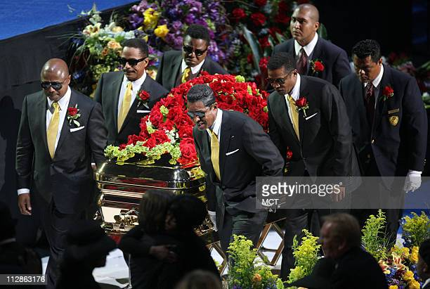 Members of the Jackson family act as pall bearers at the Michael Jackson public memorial service held at Staples Center on July 7 2009 in Los Angeles...