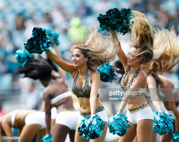 Members of the Jacksonville Jaguars cheerleaders perform at the start of their game against the Tennessee Titans during their game at TIAA Bank Field...