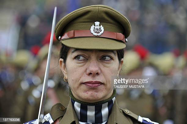 Members of the Jammu and Kashmir Armed Police march during a Republic Day parade at the Bakshi stadium in Srinagar on January 26, 2012. Republic Day...
