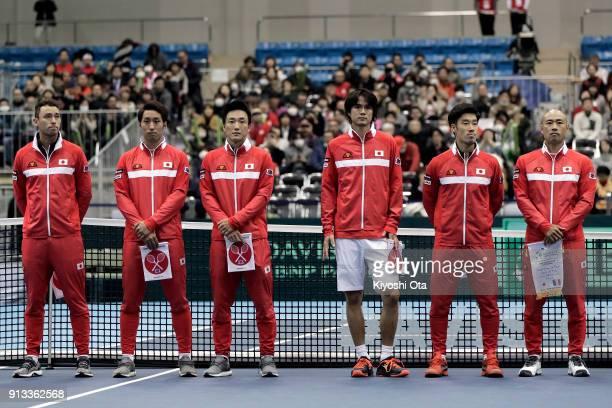 Members of the Japan Davis Cup team Ben McLachlan, Yasutaka Uchiyama, Go Soeda, Taro Daniel, Yuichi Sugita and team captain Satoshi Iwabuchi line up...