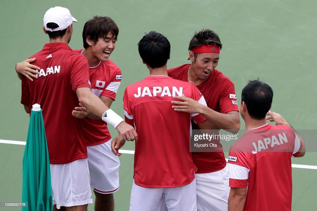 Japan v Bosnia & Herzegovina - Davis Cup World Group Play-Off - Day 2 : News Photo