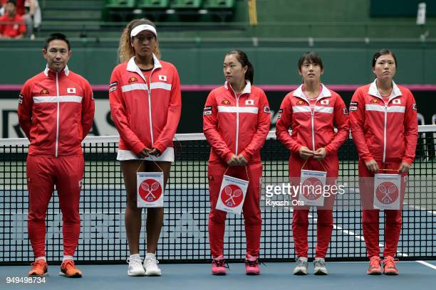 Members of the Japan Fed Cup team team captain Toshihisa Tsuchihashi Naomi Osaka Kurumi Nara Miyu Kato and Makoto Ninomiya line up at the opening...
