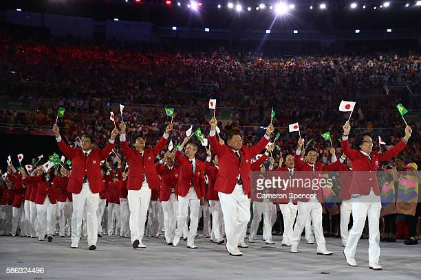 Members of the Japan team take part during the Opening Ceremony of the Rio 2016 Olympic Games at Maracana Stadium on August 5 2016 in Rio de Janeiro...