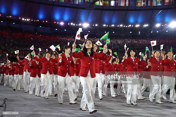 Members of the Japan team take part during the Opening Ceremony of the Rio 2016 Olympic Games at Maracana Stadium on August 5, 2016 in Rio de...