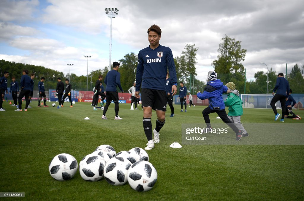 Members of the Japan team take part in a Japan training session ahead of the 2018 FIFA World Cup at FC Rubin Kazan Training Ground on June 14, 2018 in Kazan, Russia.