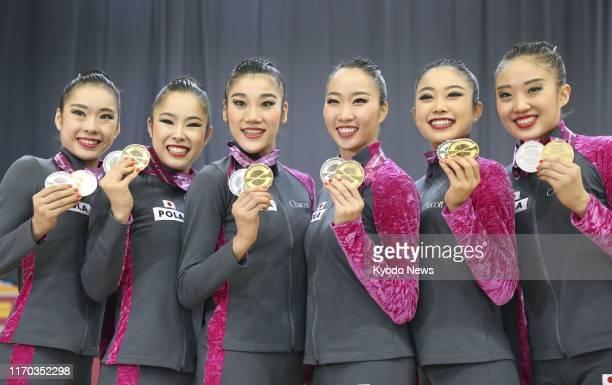 Members of the Japan women's rhythmic gymnastics team Kiko Yokota Ayuka Suzuki Rie Matsubara Sayuri Sugimoto Nanami Takenaka and Sakura Noshitani...