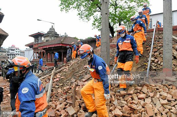 Members of the Japanese disaster relief team continue rescue operation on April 28 2015 in Kathmandu Nepal A major 78 earthquake hit Kathmandu midday...