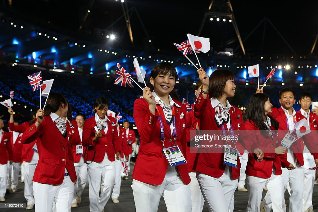 Members of the Japanese Olympic team enter the stadium during the Opening Ceremony of the London 2012 Olympic Games at the Olympic Stadium on July 27, 2012 in London, England.