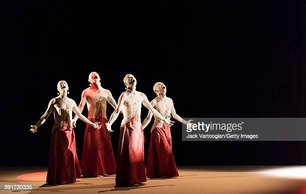 Members of the Japanese Sankai Juku butoh company perform in the 'All That is Born' section of 'Umusuna Memories Before History' in the 2015 Next...