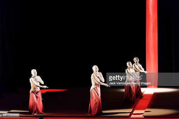 Members of the Japanese Sankai Juku butoh company perform in the 'All That is Born' section of 'Umusuna: Memories Before History' in the 2015 Next...