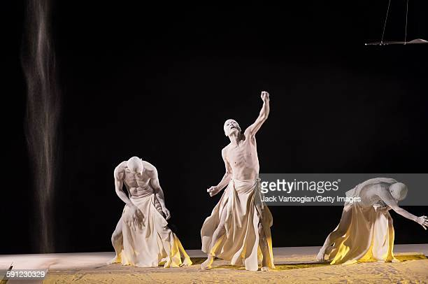 Members of the Japanese Sankai Juku butoh company perform in the 'In Winds Blown to the Far Distance' section of 'Umusuna: Memories Before History'...