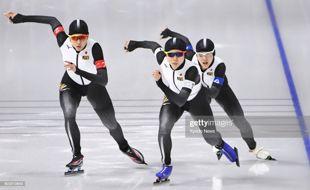 Members of the Japanese women's speed skating team compete against Canada in the pursuit semifinals in Gangneung, South Korea, at the Pyeongchang Winter Olympics on Feb. 21, 2018. ==Kyodo