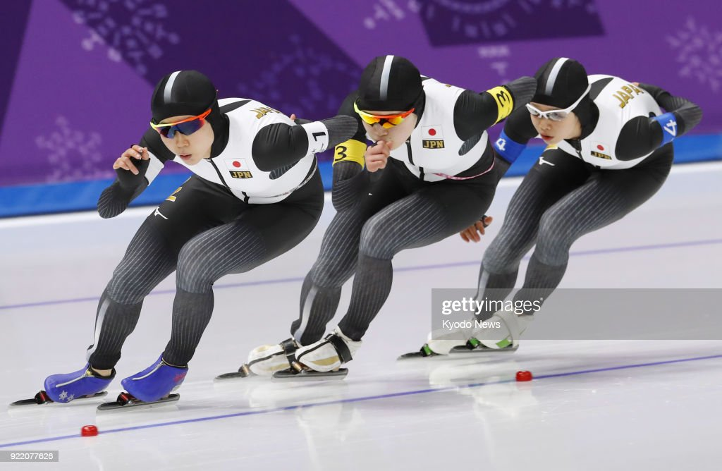 Members of the Japanese women's speed skating team compete against the Netherlands in the pursuit finals in Gangneung, South Korea, at the Pyeongchang Winter Olympics on Feb. 21, 2018. ==Kyodo