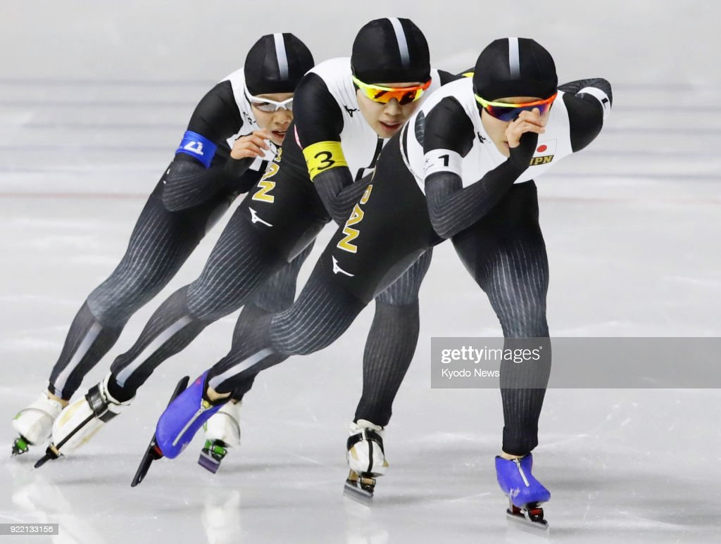 Members of the Japanese women's speed skating team -- (from R) Miho Takagi, Ayano Sato, Nana Takagi -- compete against the Netherlands in the pursuit finals in Gangneung, South Korea, at the Pyeongchang Winter Olympics on Feb. 21, 2018. ==Kyodo