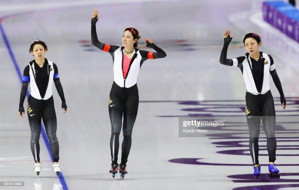 Members of the Japanese women's speed skating team -- (from L) Nana Takagi, Ayaka Kikuchi, Miho Takagi -- celebrate after defeating Canada in the pursuit semifinals in Gangneung, South Korea, at the Pyeongchang Winter Olympics on Feb. 21, 2018. ==Kyodo