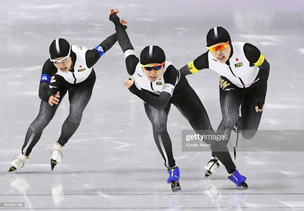 Members of the Japanese women's speed skating team -- (from L) Nana Takagi, Miho Takagi, Ayano Sato -- compete against the Netherlands in the pursuit finals in Gangneung, South Korea, at the Pyeongchang Winter Olympics on Feb. 21, 2018. ==Kyodo