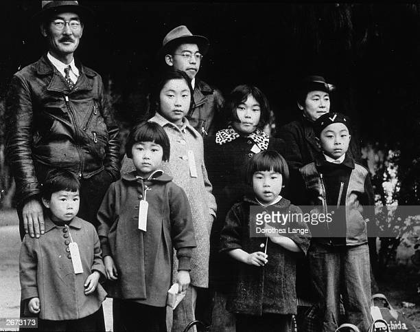 Members of the JapaneseAmerican Mochida family awaiting relocation to a camp Hayward California