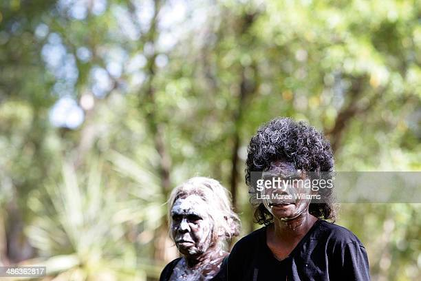 Members of the Jawoyn Mob welcome passengers of the Ghan ANZAC Tribute train with traditional dancing at Nitmiluk National Park on April 23 2014 in...
