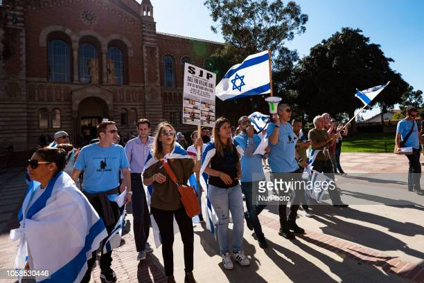 Members of the Jewish community and their allies protest antiSemitism and the upcoming National Students for Justice in Palestine conference at the...