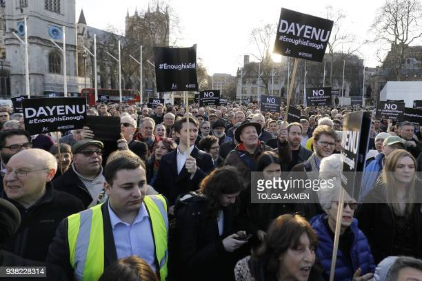 Members of the Jewish community hold a protest against Britain's opposition Labour party leader Jeremy Corbyn and antisemitism in the Labour party...