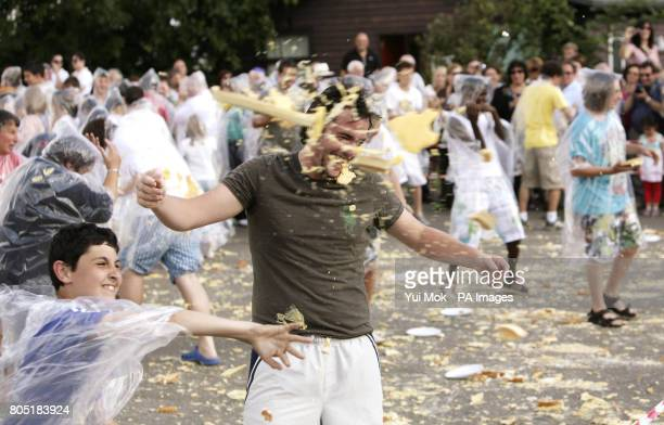 Members of the Jewish Lads' Girls' Brigade successfully clinch the world record for the largest custard pie fight in Colchester Essex