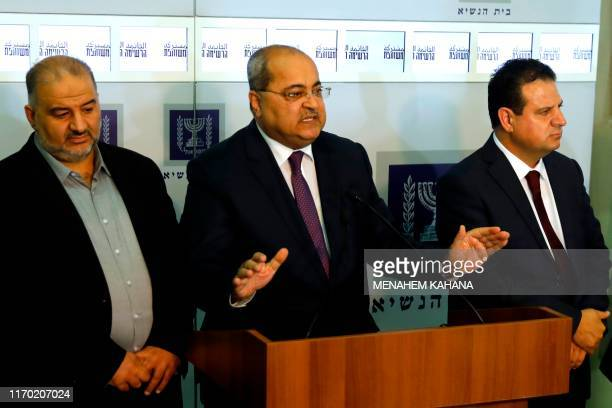 Members of the Joint List Ahmad Tibi speaks to the press in the presence of Ayman Odeh and Mansour Abbas following their consulting meeting with...