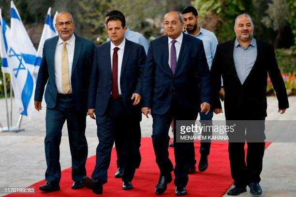 Members of the Joint List Osama Saadi, Ayman Odeh, Ahmad Tibi and Mansour Abbas arrive for a consulting meeting with the Israeli President, to decide...