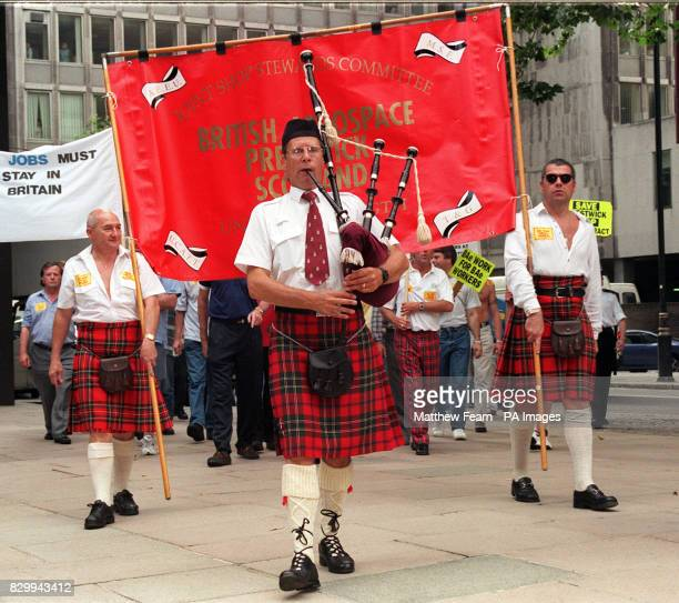 Members of the Joint Shop Stewards Committee from British Aerospace, Prestwick en route to the British Aerospace HQ in London today . The BAe workers...