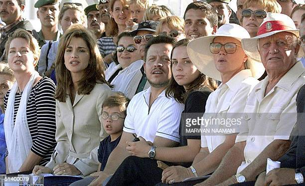 Members of the Jordanian royal family including Queen Noor wife of the late King Hussein of Jordan Queen Rania and her son Prince Hussein King...