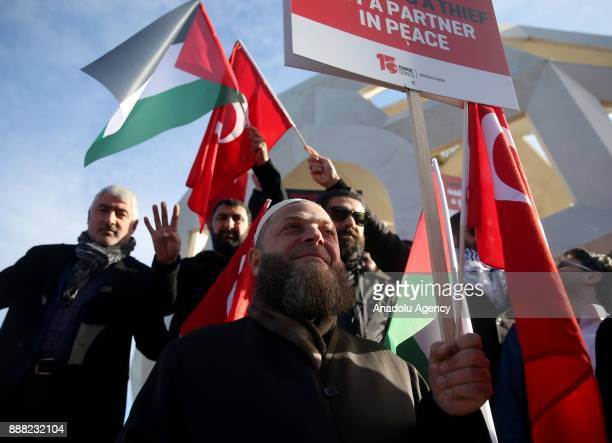 Members of the July 15 Foundation hold a protest against the US President Donald Trump's recognition of Jerusalem as Israel's capital at 'July 15...