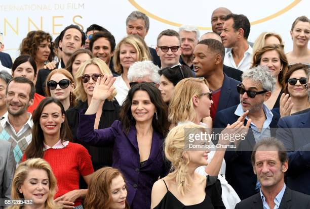 Members of the jury actors dignitaries and guests attend the 70th Anniversary photocall during the 70th annual Cannes Film Festival at Palais des...