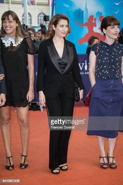 Members of the jury Alice Winocour and Emmanuelle Devos arrive at the closing ceremony of the 43rd Deauville American Film Festival on September 9...