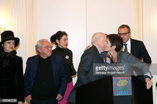 Members of the Jury Amelie Nothomb Arnaud Viviant Cecile Guilbert Pierre Berge and Winner of the Prize Christine Angot for her book 'Un amour...