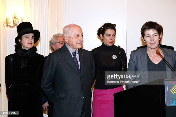 Members of the Jury Amelie Nothomb Cecile Guilbert Pierre Berge and Winner of the Prize Christine Angot for her book 'Un amour impossible' attend the...