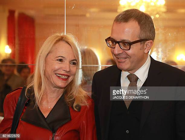 Members of the jury French writer and journalist Laure Adler and Charles Dantzig are pictured after announcing the winner of this year's Prix...