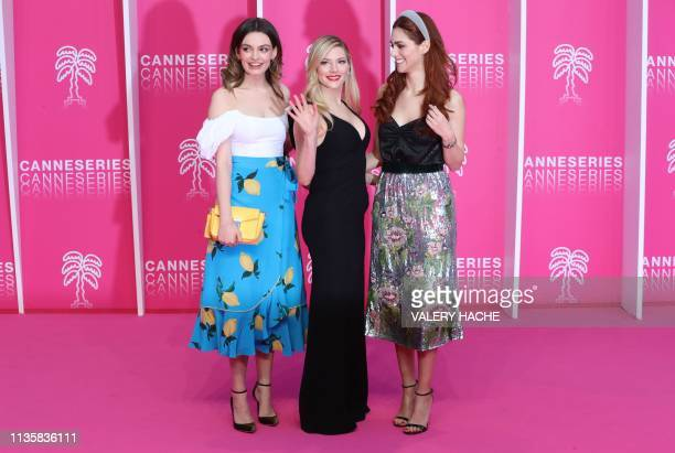 Members of the jury FrenchBritish actress Emma Mackey Canadian actress Katheryn Winnick and Italian actress Miriam Leone poses for a photocall during...