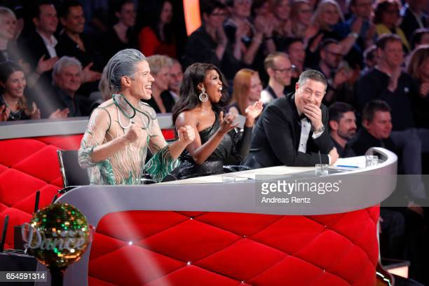 Members of the jury Jorge Gonzalez Motsi Mabuse and Joachim Llambi talk during the 1st show of the tenth season of the television competition 'Let's...