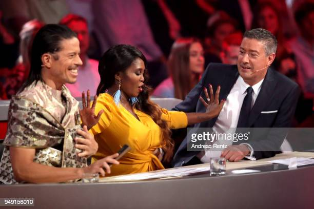Members of the jury Jorge Gonzalez, Motsi Mabuse and Joachim Llambi perform on stage during the 5th show of the 11th season of the television...