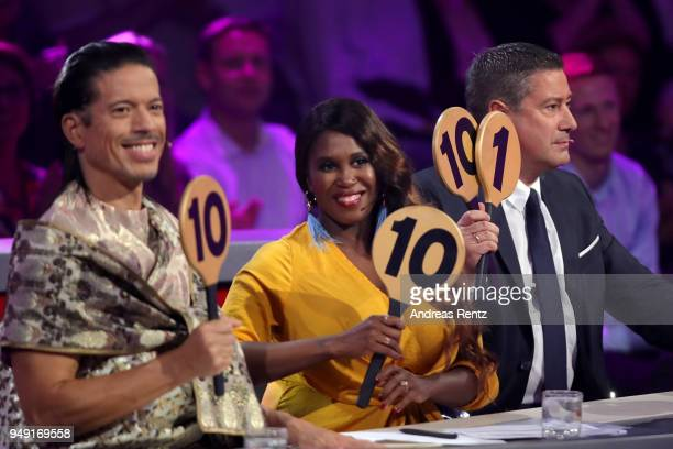 Members of the jury Jorge Gonzalez, Motsi Mabuse and Joachim Llambi are seen on stage during the 5th show of the 11th season of the television...