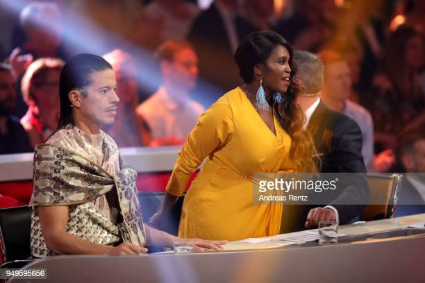 Members of the jury Jorge Gonzalez Motsi Mabuse and Joachim Llambi are seen on stage during the 5th show of the 11th season of the television...