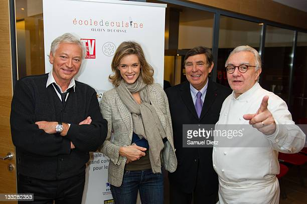 Members of the jury Laurent Boyer Julie Andrieu and JeanPierre foucault and president of the jury Chef Alain Ducasse attend the final of Chef Alain...