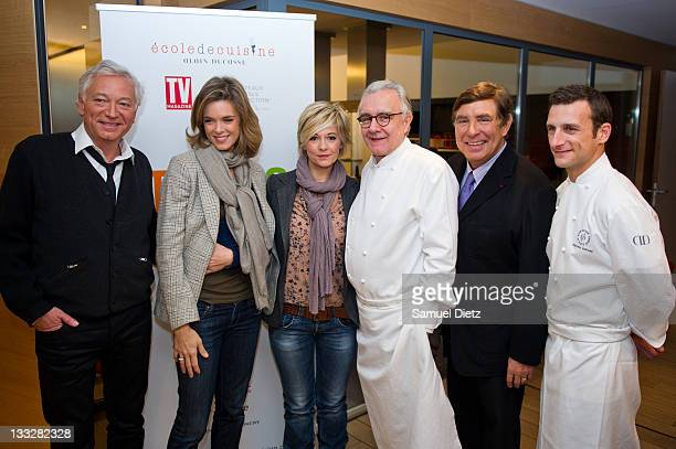 Members of the jury Laurent Boyer Julie Andrieu Flavie Flament and JeanPierre Foucault and Chefs Alain Ducasse and Christophe Saintagne attend the...