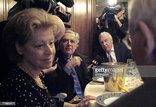 Members of the jury of the French literature Prix Goncourt Franoise Chandernagor Bernard Pivot and Didier Decoin gather 05 November 2007 in Paris to...