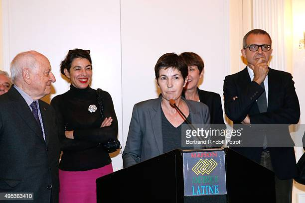 Members of the Jury Pierre Berge Cecile Guilbert Winner of the Prize Christine Angot for her book 'Un amour impossible' and Member of the Jury...