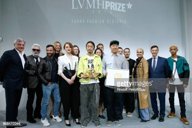 Members of the jury Sidney Toledano Stylist Karl Lagerfeld stylist Nicolas Ghesquiere Louis Vuitton's executive vice president Delphine Arnault...