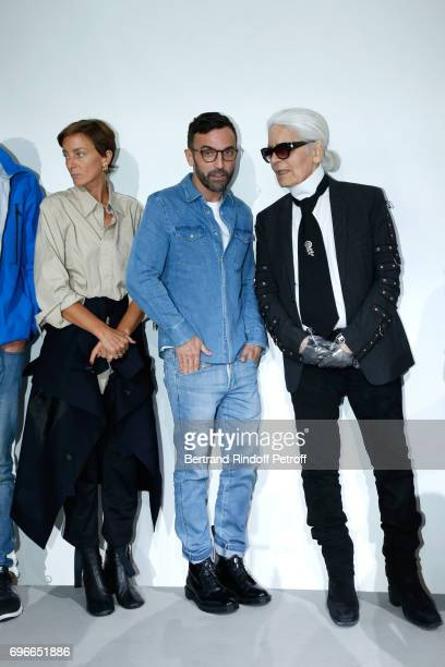 Members of the Jury stylist Phoebe Philo stylist Nicolas Ghesquiere and stylist Karl Lagerfeld attend the Young Fashion Designer LVMH Prize 2017...