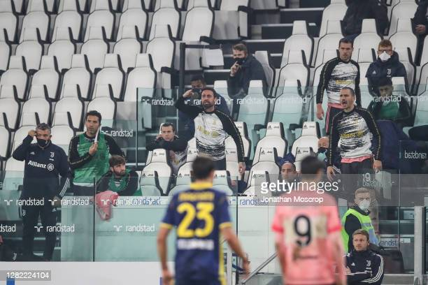 Members of the Juventus bench react towards Ronaldo Vieira of Hellas Verona during the Serie A match between Juventus and Hellas Verona FC at Allianz...