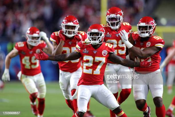 Members of the Kansas City Chiefs celebrate after defeating the San Francisco 49ers 31-20 in Super Bowl LIV at Hard Rock Stadium on February 02, 2020...