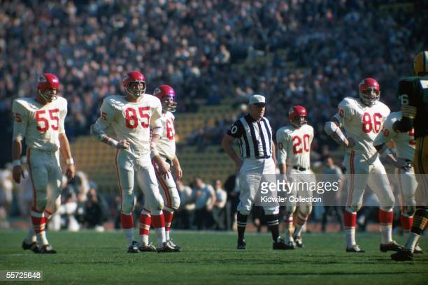 Members of the Kansas City Chiefs defense EJ Holub Chuck Hurston #68 #20 and Buck Buchanan await the next play during Super Bowl I on January 15 1967...