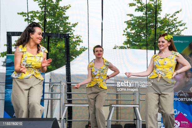 Members of the Kennedy Cupcakes group perform on stage during the event Stirling shows its support of the UK Armed Forces as part of the UK Armed...